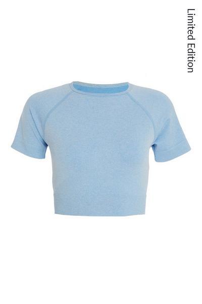 Blue Seamless Crop Top